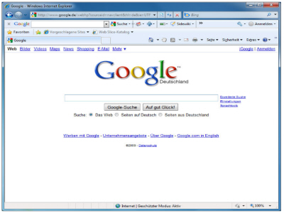 Google.de im Internetexplorer